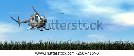 Helicopter landing on the grassby day - 3D render - stock photo