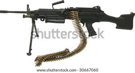 helicopter mounted army machine gun isolated on white - stock photo