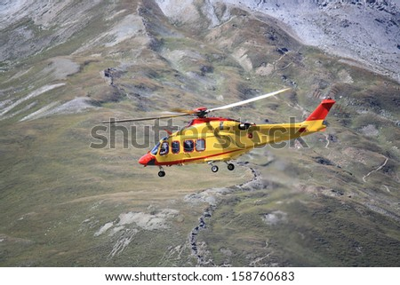 Helicopter rescue in the mountains of Stelvio, Italy