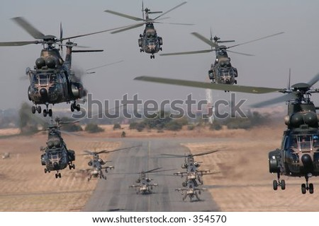 Helicopter take-off - stock photo