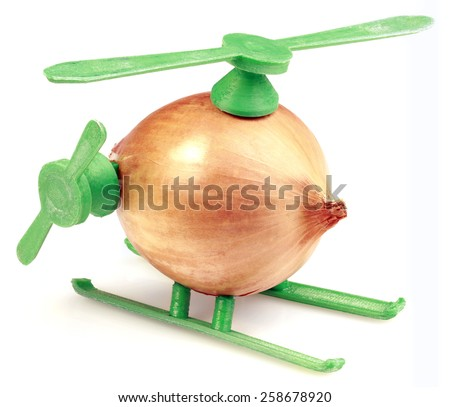 Helicopter Toy Improvisation Made with Onion and Plastic - stock photo