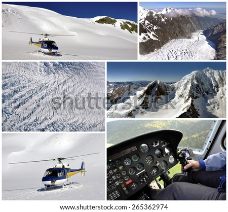 Helicopter trip over Fox Glacier, New Zealand - stock photo
