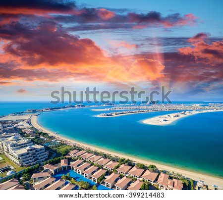 Helicopter view of Dubai Palm Island.