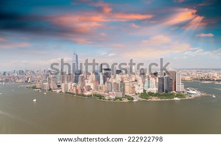 Helicopter view of New York City. - stock photo