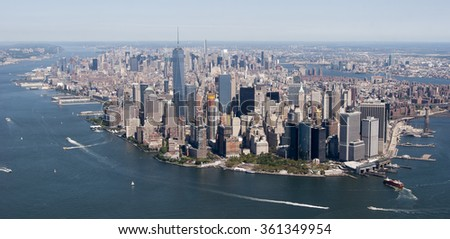 Helicopter view of New York City.