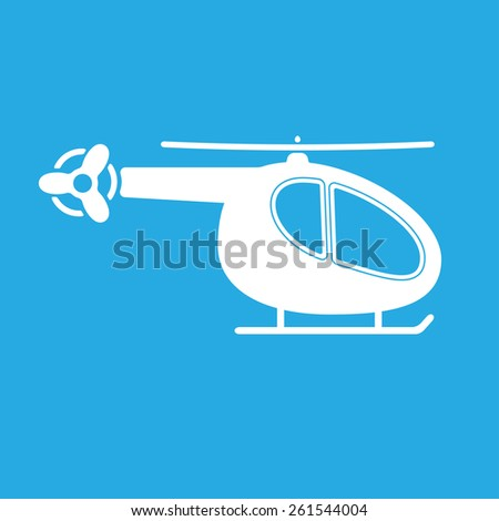 Helicopter. White silhouette on blue background. - stock photo