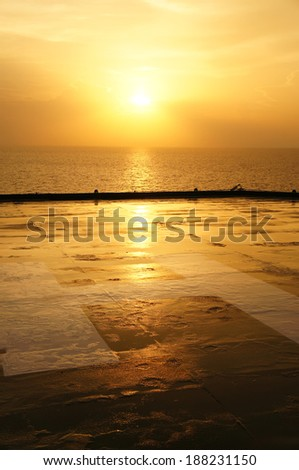 Helideck of Oil Drilling Rig At Sunset Time - stock photo