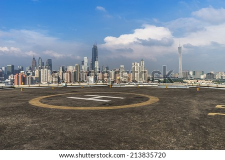 Heliport and skyline in guangzhou china.