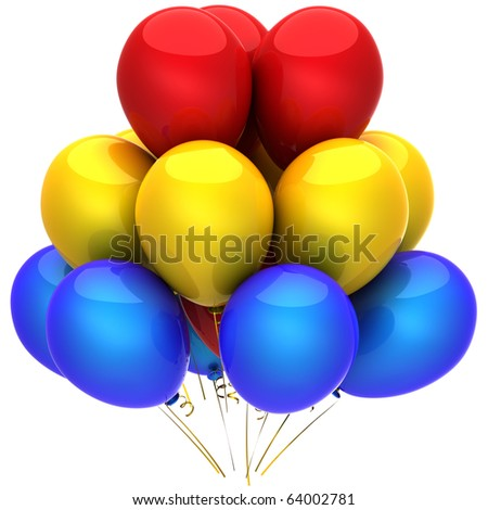 Helium balloons beautiful and colorful (red, yellow, blue). Party concept. Positive emotions. This is a detailed 3D render (Hi-Res). Isolated on white