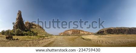 Hell's Gate, Kenya. Panoramic - stock photo