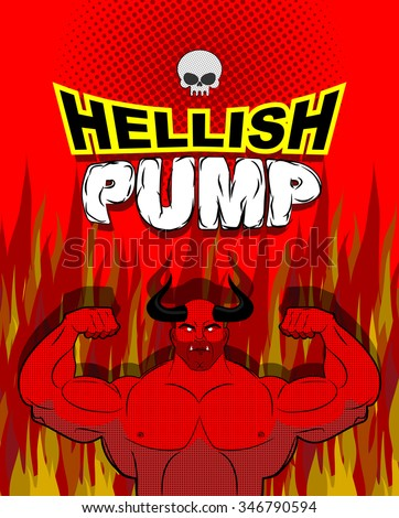 Hellish pump. Satan bodybuilder with huge muscles. Workout with the devil in purgatory. Red athlete with large horns. Gym in Gehenna fire. Devilish pumping muscle.   - stock photo