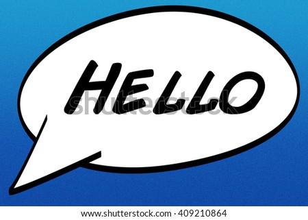 Hello Comic Speech Bubble - stock photo