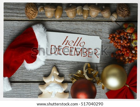 Hello December, Welcome Winter Greeting Card Frame Of Winter And Christmas  Decor Poster With Sunlight