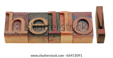 hello greetings - word in vintage wooden letterpress printing blocks isolated on white