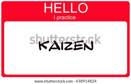 Hello I pracice Kaizen red name tag making a great concept - stock photo
