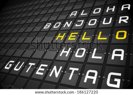 Hello in languages on digitally generated black mechanical board - stock photo