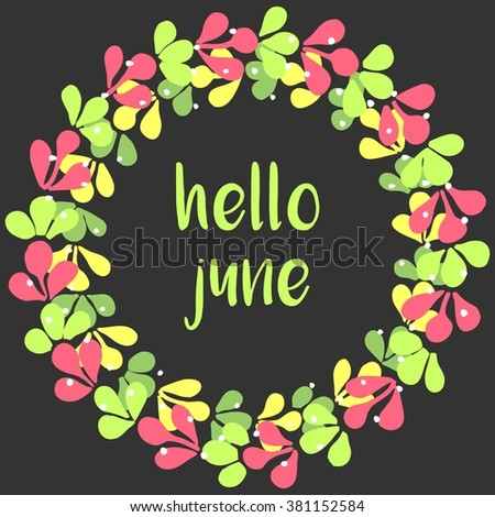 Hello june wreath card