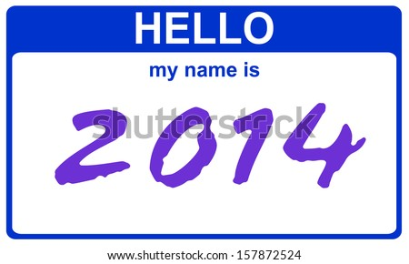 hello my name is 2014 blue sticker - stock photo