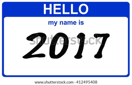 hello my name is 2017 blue sticker - stock photo