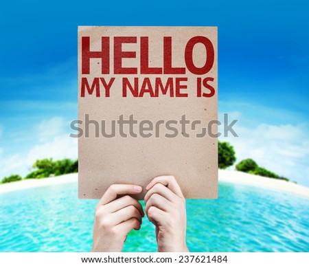 Hello My Name Is card with a beach background - stock photo