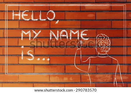 Hello, my name is..., new teacher introducing himself and writing his name on blackboard - stock photo