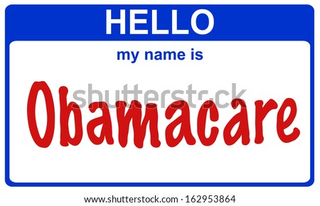 hello my name is obamacare blue sticker - stock photo