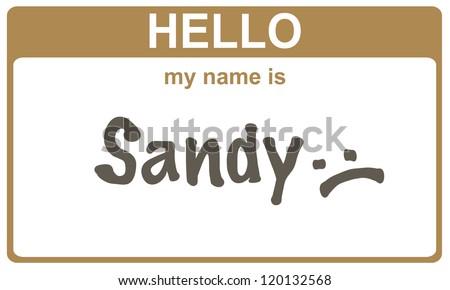 hello my name is sandy  sticker - stock photo