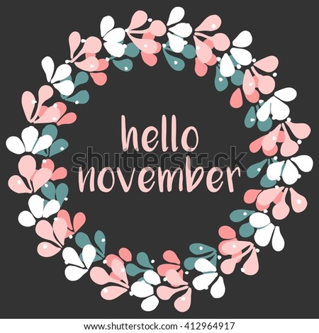 Hello november wreath card