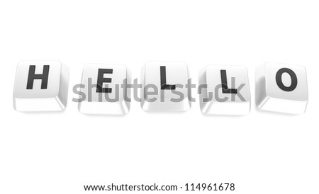 HELLO written in black on white computer keys. 3d illustration. Isolated background. - stock photo