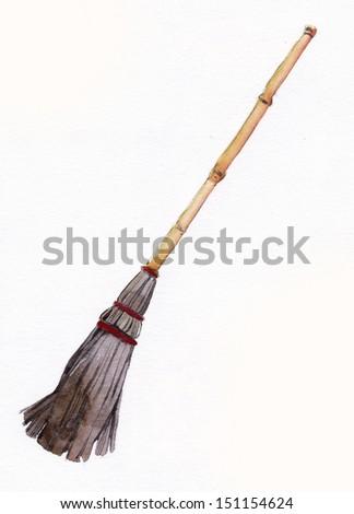 Helloween broom, watercolor - stock photo
