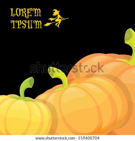 helloween invitation border with pumpkins isolated on black can be used for hellowen poster and invitations on party. raster version - stock photo