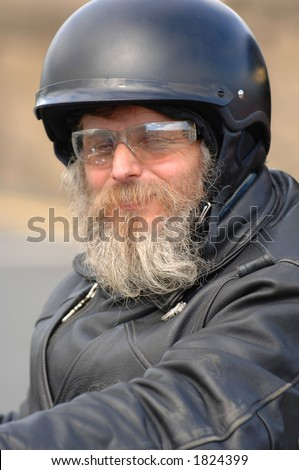 Hells Angel in Leather - stock photo