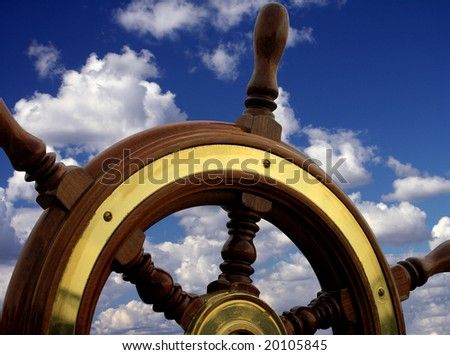 Helm close-up  relating to the blue sky - stock photo