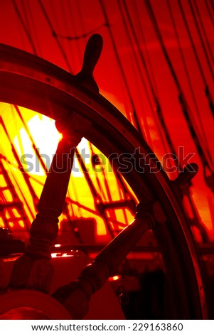 helm of a sailing ship  - stock photo