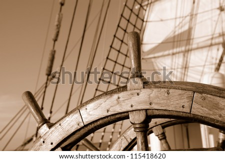 helm of sailboat - stock photo