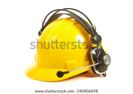 Helmet and headphones isolated on white background