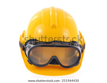 helmet and Safety glasses isolated on a white background. - stock photo