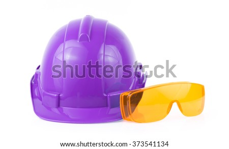 Helmet and Safety glasses isolated on white background - stock photo