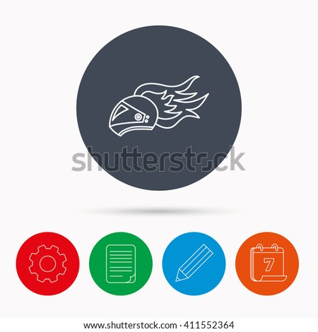Helmet on fire icon. Motorcycle sport sign. Calendar, cogwheel, document file and pencil icons. - stock photo