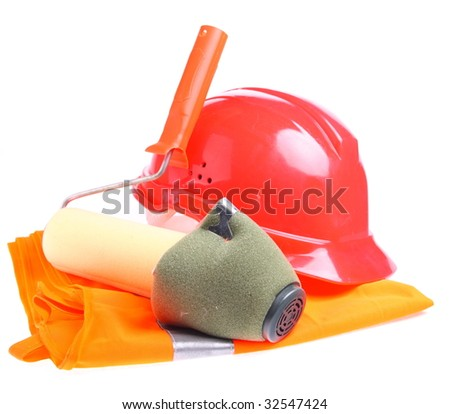 Helmet, respirator, jacket and applicator roll over white