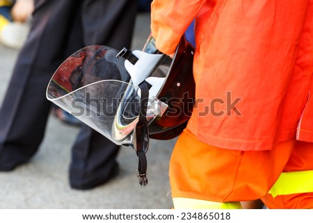 helmet safety for firefighter - stock photo