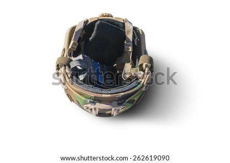 Helmet with magazine inside. Isolated over white background. - stock photo