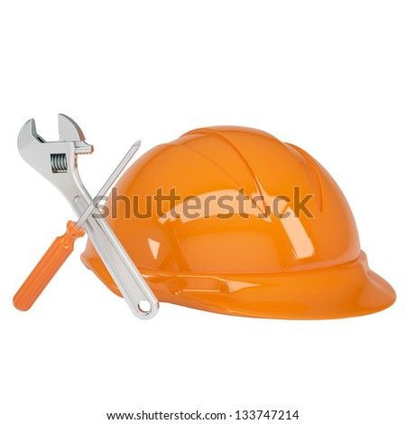 Helmet, wrench and a screwdriver. Isolated render on a white background