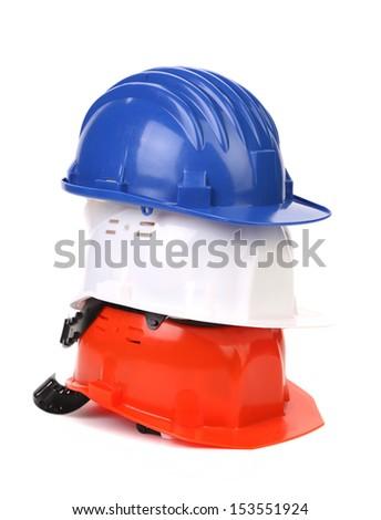 Helmets like of the flag France. - stock photo