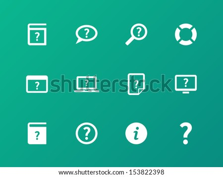 Help and FAQ icons on green background. See also vector version. - stock photo
