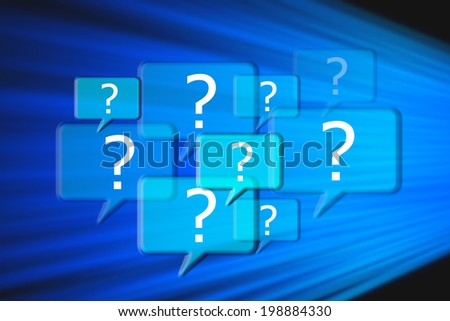 Help and support center with question marks - stock photo
