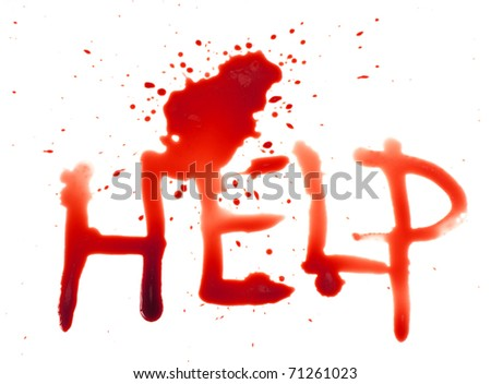 Help - bloody words - stock photo