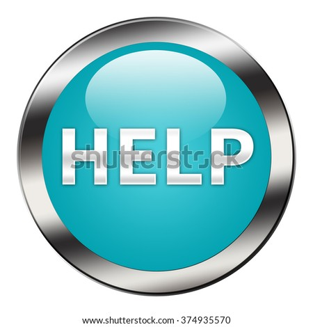 Help button isolated - stock photo