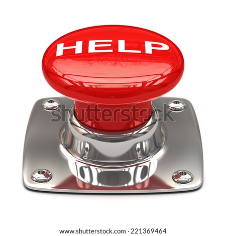 Help button. Isolated on white background 3D