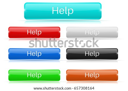 HELP buttons. Glass rectangular icons. 3d illustration isolated on white background. Raster version